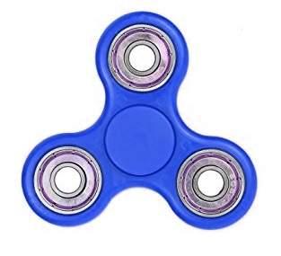 Fidget hand spinner donkerblauw/metaal