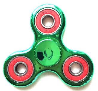 Fidget spinner metallic groen met rood